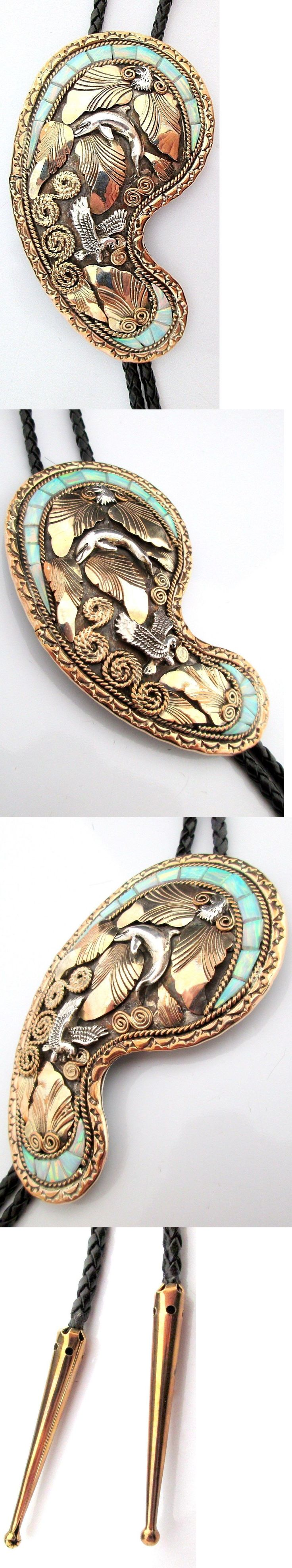 Unsigned Artisan Jewelry 166733: Navajo Silver And Gold Bolo Tie Sterling Eagle Large Dolphin Opal *Rr007 BUY IT NOW ONLY: $329.99