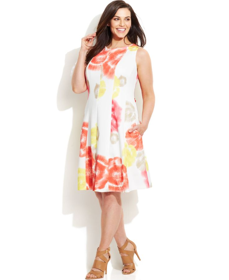 Calvin Klein Plus Size Printed Scuba Dress