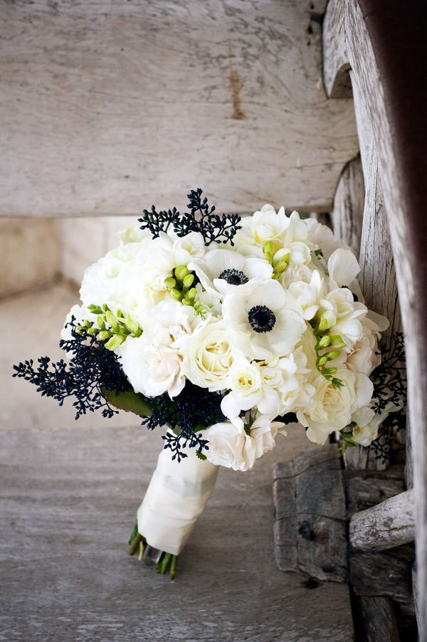 Bridal bouquet for a nautical navy themed wedding! Love the dark accents