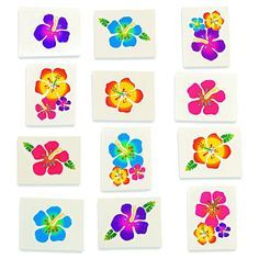 Your tan might have faded, but your tropical fun doesn't have to! These Hibiscus Glitter Tattoos will bring your vacation home with you. These temporary tattoos feature an assortment of brightly color