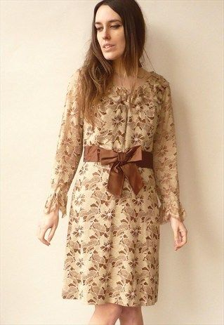 1960'S VINTAGE LACE SHIFT DRESS WITH BOW DETAIL SIZE SMALL
