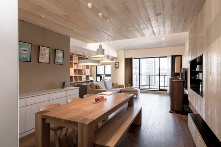 Apartment: Awesome Wooden Breakfast Table With Bench Mixed With Stylish White Pendant Lamp And White Cabinet Plus Built In Shelves Ideas: A Modern Apartment Celebrates the Look of Natural Wood
