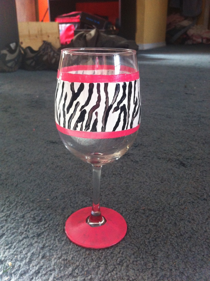 diy animal print wine glass acrylic enamel paint and bake