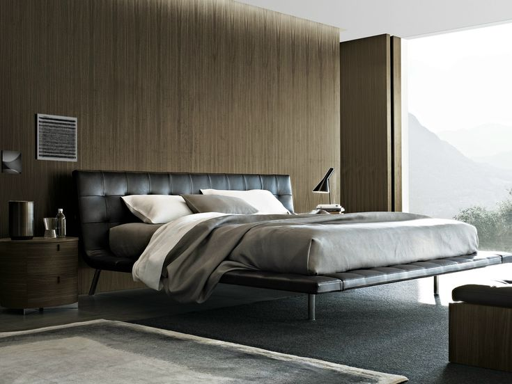 DOUBLE BED WITH UPHOLSTERED HEADBOARD ONDA BY POLIFORM   DESIGN PAOLO PIVA