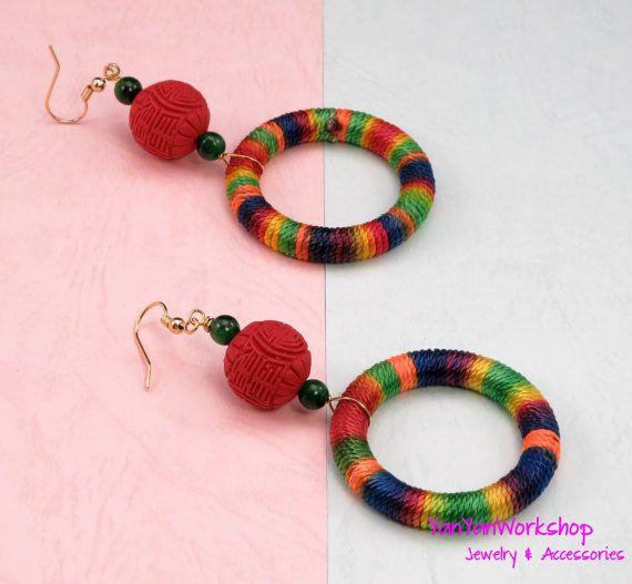 Rainbow Colors Thread Ring Earrings Carved by YanYanWorkshop