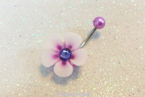Cute belly ring w purple and white 12mm pansy w crystal in center 14ga | YOUniqueDZigns - Jewelry on ArtFire