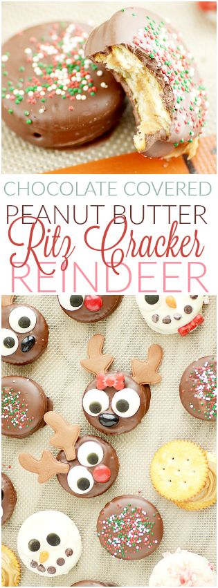 Peanut Butter Ritz Cracker Cookies (Rudolph and friends-- so cute for Christmas!)