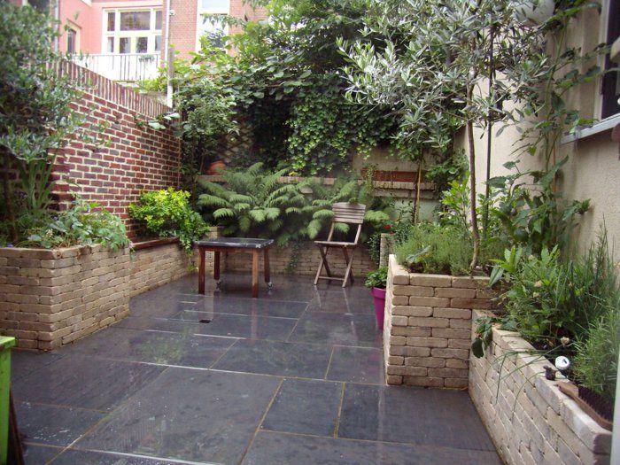 Garten Gestalten Ideen Bodenfliesen Gartenmöbel Pflanzen