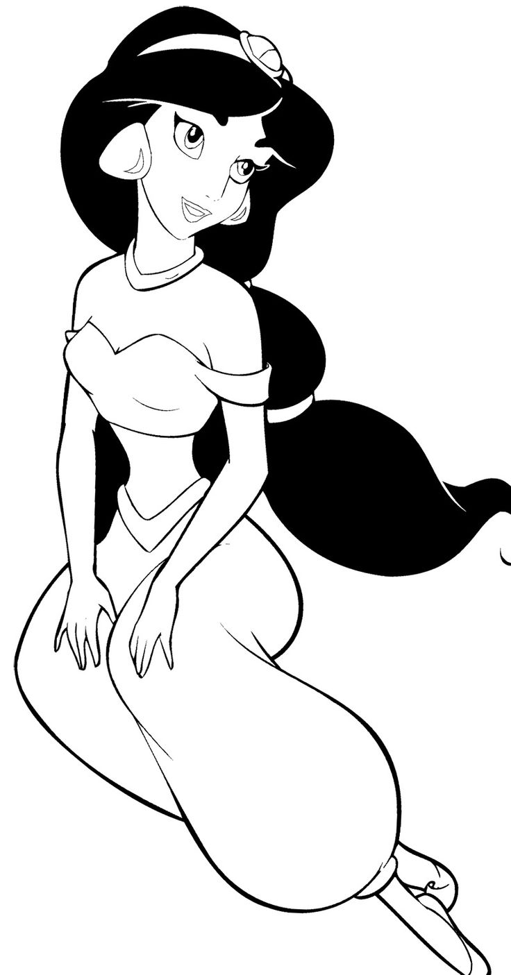 Blank disney princess coloring pages - Disney Princess Jasmine Coloring Page
