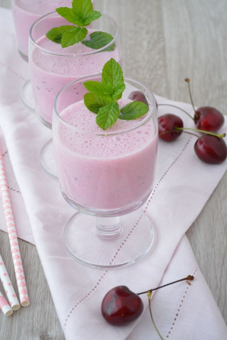 Healthy Smoothie Recipes - Cherry Smoothie recipe:  Mix: 200 ml soy milk, 100 g cherries (fresh or frozen), 2 teaspoons of wheat germ, 1 teaspoon of cane molasses, ½ teaspoon of horsetail