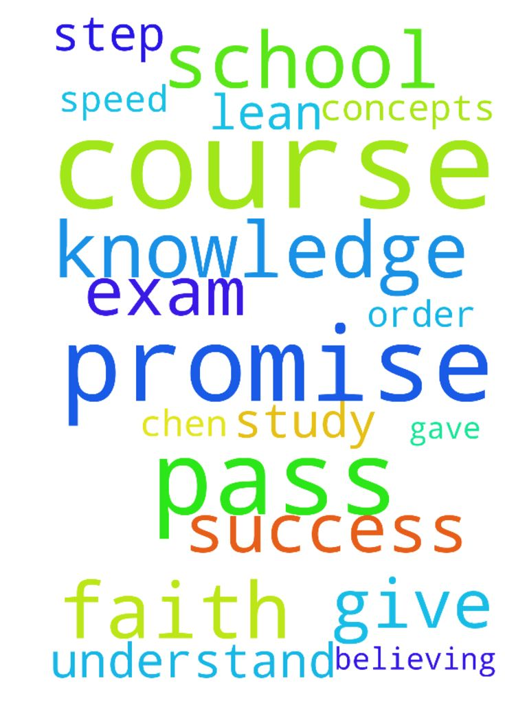 Pass school courses -  Lord give me the knowledge and speed to understand the concepts for my courses. I pray that I get 100 on the exam for Chen 242 in order to pass the course. God you gave me a promise and I am believing you for this promise. I step out in faith as I study and lean on you for success Amen.  Posted at: https://prayerrequest.com/t/AyD #pray #prayer #request #prayerrequest