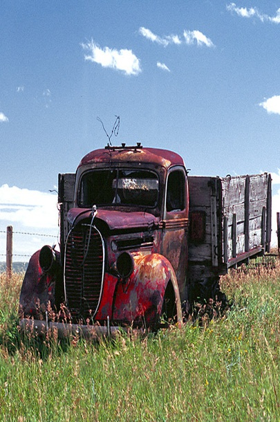 Old Farm Truck With Wood Side Boards: Wood Side