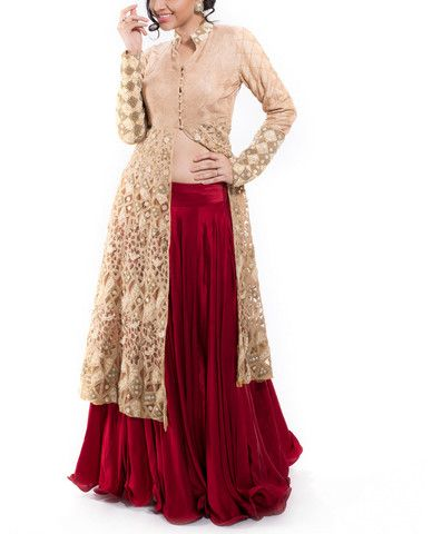 Golden Jacket with Maroon Satin Lehenga – StylishMob