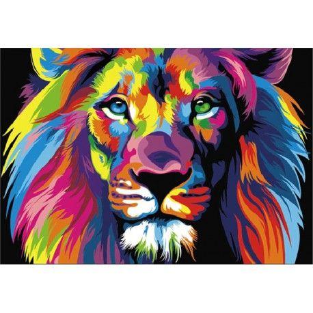 Радужный лев Ваю Ромдони Раскраска (картина) по номерам акриловыми красками на холсте Menglei