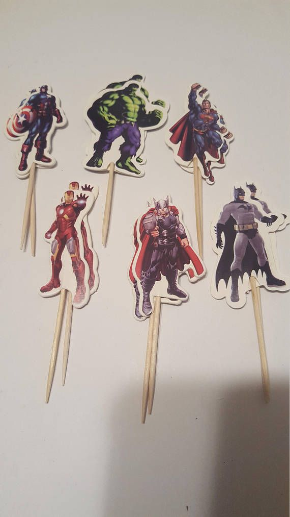 Check out this item in my Etsy shop https://www.etsy.com/listing/532797200/super-hero-12-cupcake-picks