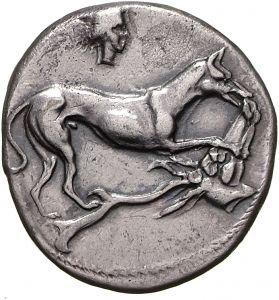 Didracma - argento - Segesta, Sicilia (412-400 a.C.) - un cane azzanna la testa di un cervob con lunghe corna - Münzkabinett  Berlin