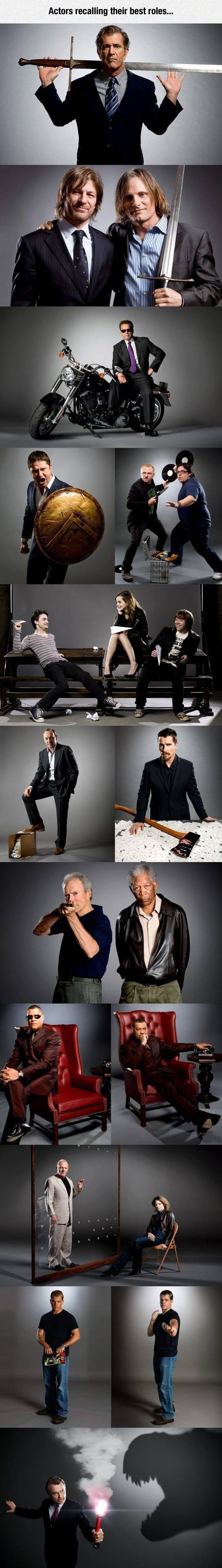 Actors recreating their best roles. Lord of the Rings, Gladiator, Shaun of the Dead, terminator