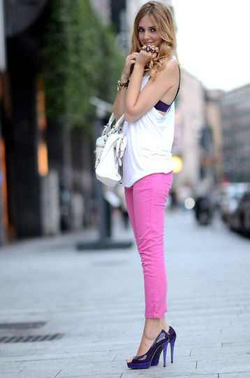 Chiara Ferragni purple shoes (by Chiara Ferragni) http://lookbook.nu/look/2073051-Chiara-Ferragni-purple-shoes