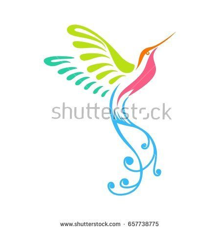 Stylized Hummingbirds or Colibri with colorful artistic ornament, good for logo, icon, t-shirt, mascot, or even a poster