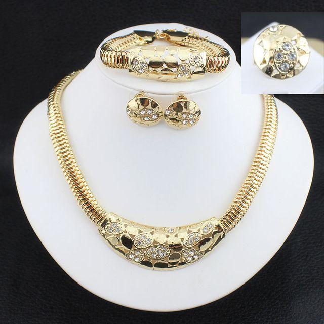 Dubai Wedding Fine Jewelry Traje Africano Set Jóias Banhado A Ouro Conjuntos De Jóias de Noiva Festa de Brinco E Conjuntos de Colar