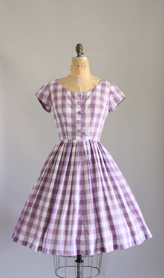 Vintage 50s Dress/ 1950s Cotton Dress/ by WhenDecadesCollide.