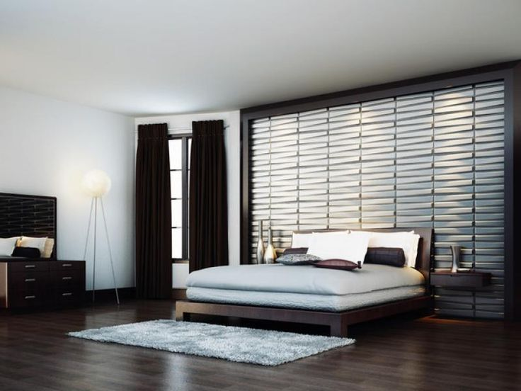 Contemporary wallpaper in spcious bedroom brown curtain for Cool wallpaper designs for bedroom