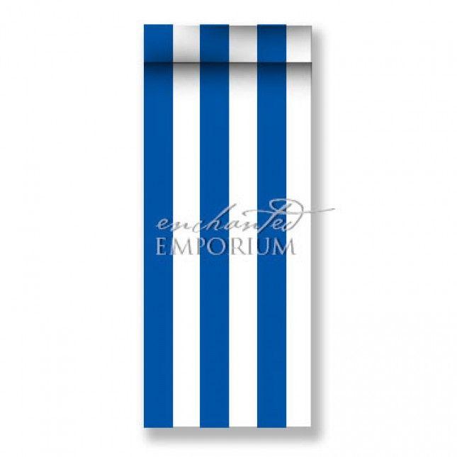 Cobalt & White Striped Satin Table Runner, Enchanted Emporium