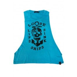 Women's Loose Lips - Low Cut Sleeveless Muscle T-Shirt #angryblossom #alternative #altfashion #punk #goth #pinup #rockabilly