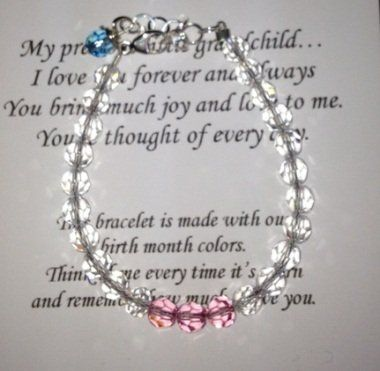 """Keepsake Granddaughter Gift Bracelet - Personalized MOL Jewelry. $24.00. fits sizes 6-7 1/2"""" - a meaningful and special gift for a birthday, holiday or special occasion such as graduation or religious event.. Include birth month colors (GPARENT= GCHILD=) in the gift note section or email us after order is placed.. A personalized gift bracelet for your granddaughter made with the birth month colors of the two of you."""