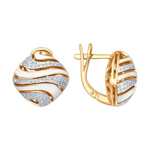Серьги из золота с эмалью с бриллиантами