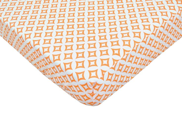 Percale 100% Cotton Orange Tweedle Dee Tile Fitted Crib Sheet