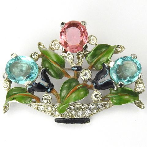 Trifari 'Alfred Philippe' Small Pave Enamel and Pastel Stones Flower Basket Pin