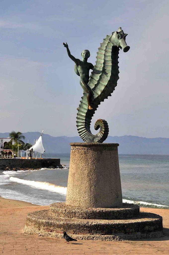 Sea Horse Sculpture, beach front in Puerto Vallarta, Mexico