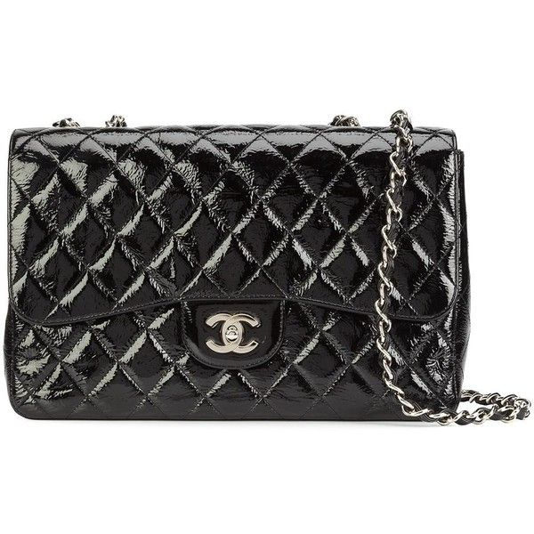 Chanel Vintage Jumbo Flap Shoulder Bag (376,095 INR) ❤ liked on Polyvore featuring bags, handbags, shoulder bags, quilted purses, chain purse, kiss-lock handbags, quilted chain purse and chain handbags