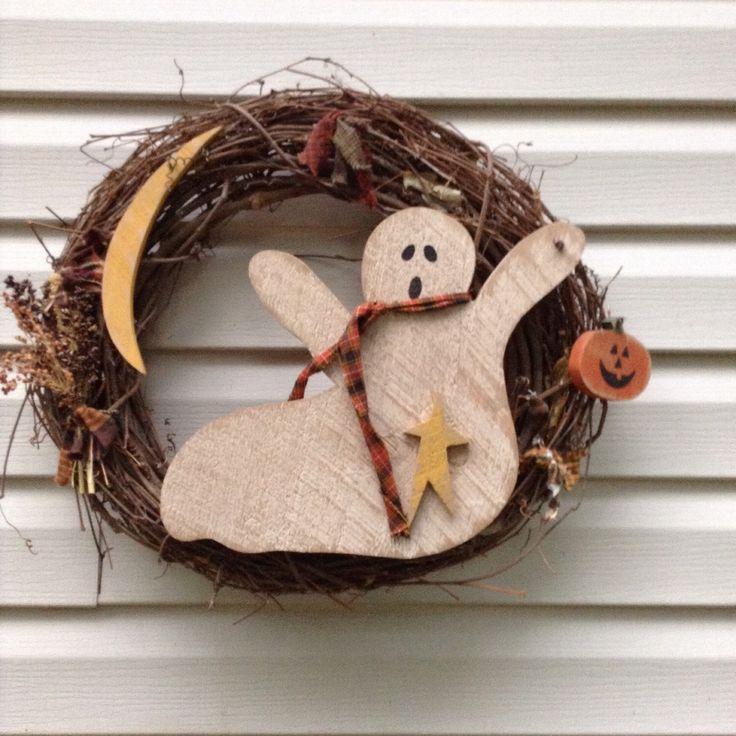 Primitive, Primitive wreath, Halloween Primitive wreath, Ghost Wreath, Primitive Ghost, OFG team, Primitive fall wreath, Country Wreath by LnMPrimitives on Etsy https://www.etsy.com/listing/242674292/primitive-primitive-wreath-halloween