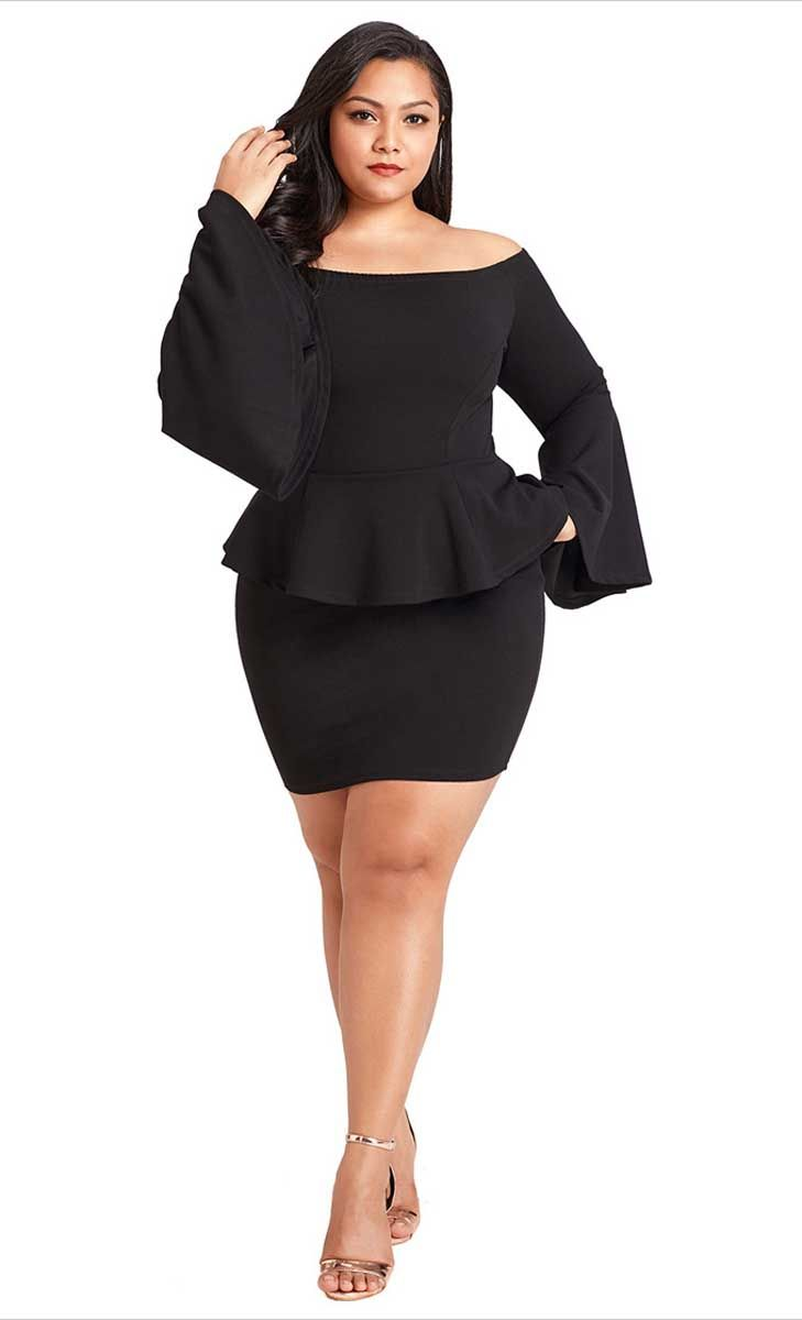 04fcde9a2d385 Women s  black bell sleeve  PlusSize mini  dress peplum bodycon design