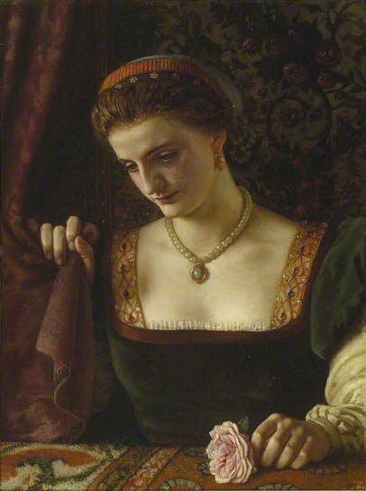 """The Knight's Guerdon by Robert Braithwaite Martineau, 1864, The ashmolean Museum of Art and Archeology. On the frame is a label in the painter""""s hand recording lines from Tennyson""""s Sir Galahad; How sweet are looks that ladies bend, On whom their favors fall."""