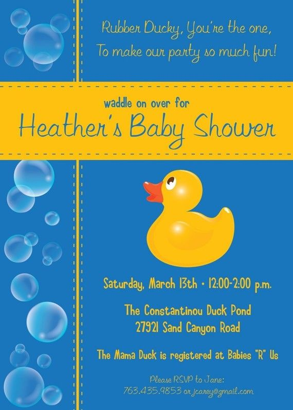 Baby Shower Invitation Rubber Ducky Baby Shower Rubber Duck Baby Shower Baby Shower Duck