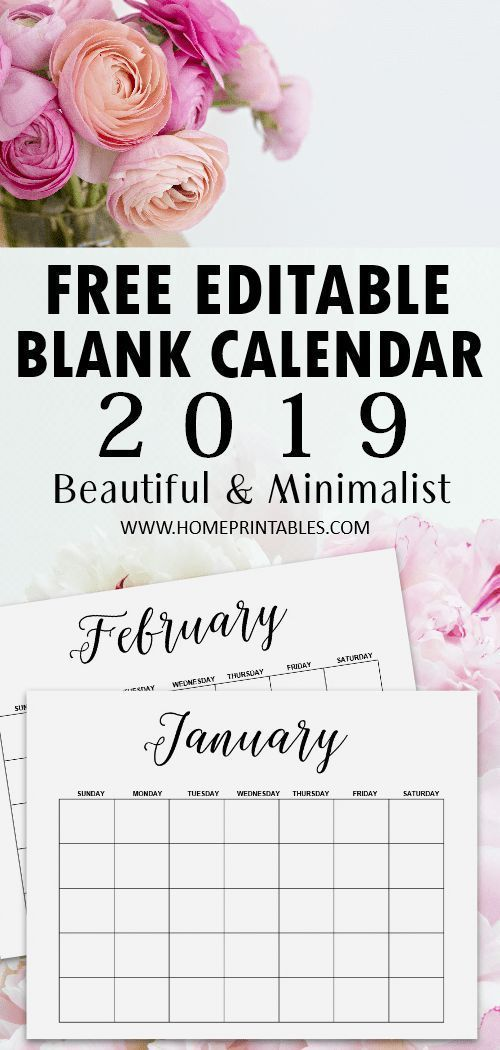 Blank Calendar 2019 Free Editable Template in Microsoft Word