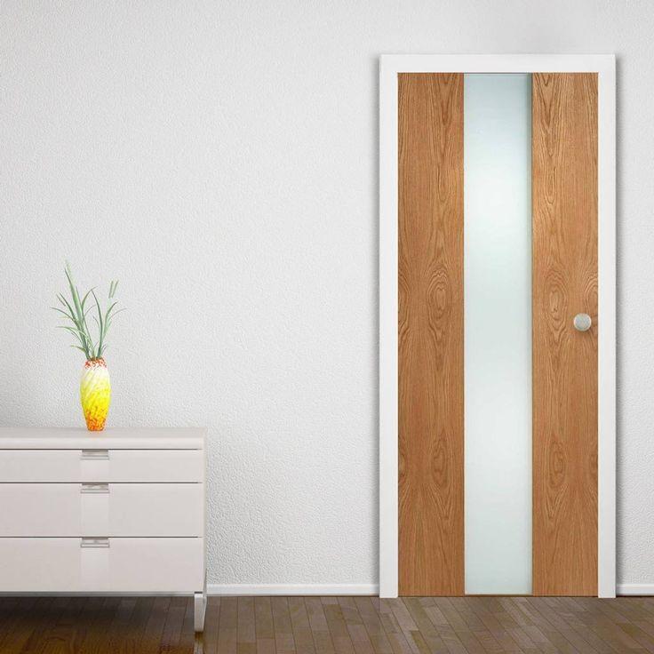 Door Set Kit, Zaragosa Oak Door - Frosted Safe Glass. #moderndoor #contemporarydoor #moderglazeddoor