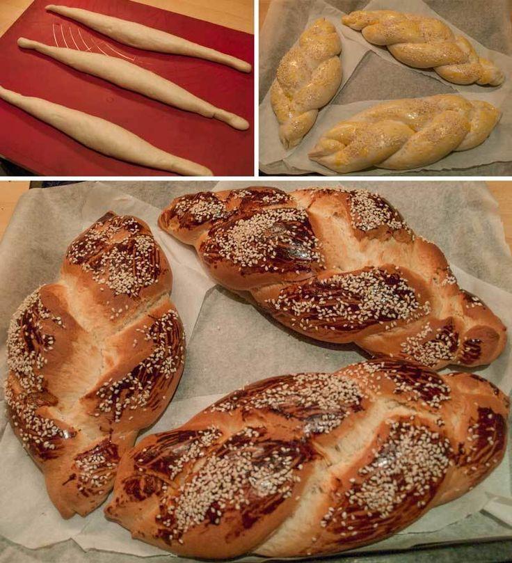 Paskalya Çöreği (Tsoureki) - Fügen Büke #yemekmutfak.com Paskalya çöreği aslında Paskalya Yortusu'nda (Easter) yapılması ritüel olan bir çeşit tatlı ekmektir. Ancak mahlep kokulu bu güzel çörek çok sevildiği için pastanelerin klasik menüsünde yerini almıştır. Pastanelerde yediğiniz lezzetteki bu paskalya çöreğini pişirirken ve yerken çok keyif alacaksınız. Pişirirken evinizi muhteşem bir mahlep kokusu saracaktır.