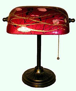 bankers lamp | Tiffany Style Red Banker Table Lamp
