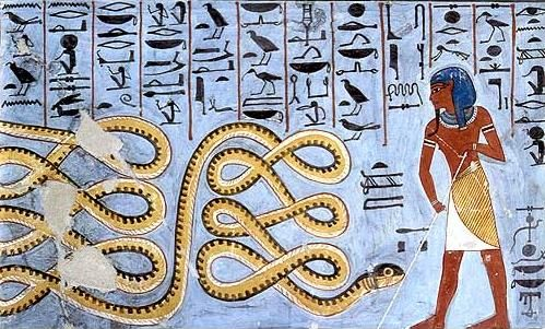 Ancient Egyptian art depicting Apep being warded off by a deity. Apep was an evil god in ancient Egyptian religion