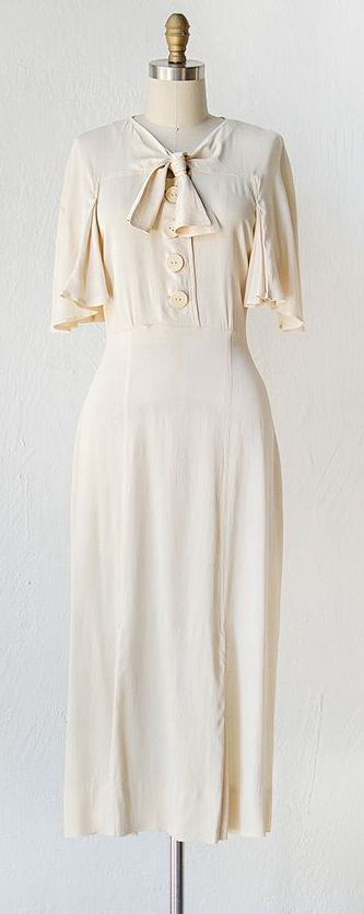 Ivory silk dress cape sleeves and sailor bow, 1930…