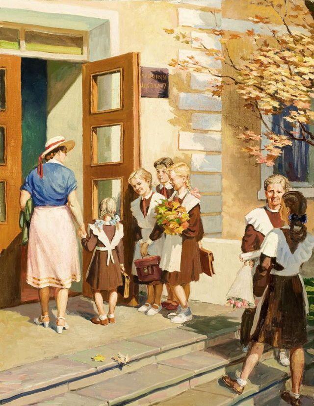 Старинные открытки о школе, мужчины