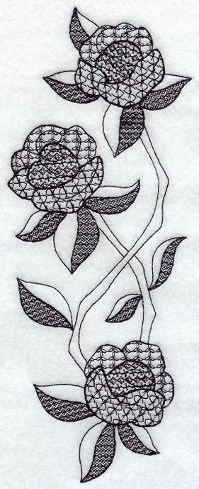 blackwork rose | ... scrolling stems and intricate patterned-fills of Blackwork embroidery