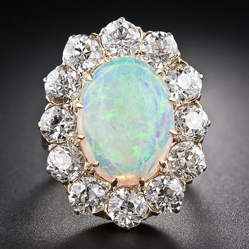 Victorian White Opal and Old Mine-Cut Diamond Ring Mounted In 14 And 18k Yellow Gold