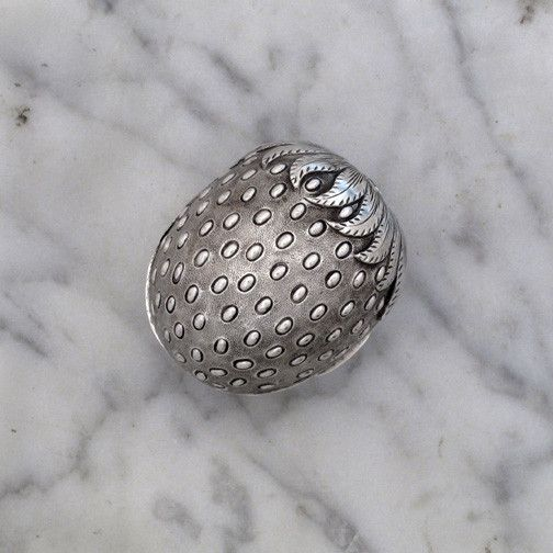 OnlineGalleries.com - A Rare Victorian Antique English Silver Strawberry Form Nutmeg Grater