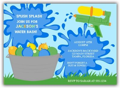 9 best water balloon family fun party images on pinterest water invite your guests to your summer birthday party with this water bash birthday invitation featuring stopboris Gallery