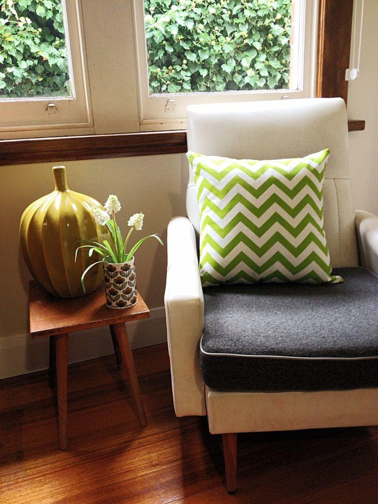 Lime green chevron cushion cover